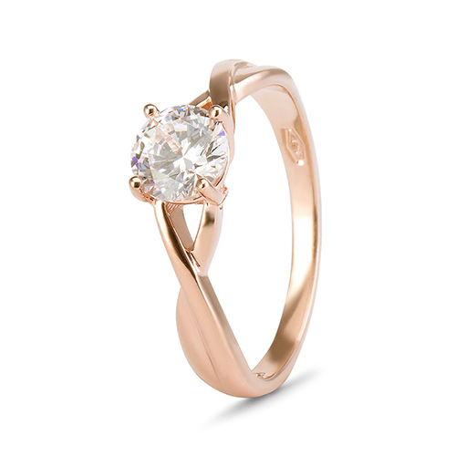 9kt Rose Gold Cubic Zirconia 4 Claw Solitaire Twisted Shank Ring (0.75ct)