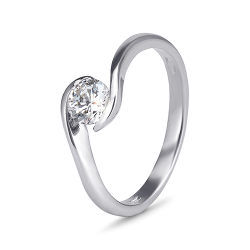 9kt White Gold Cubic Zirconia Solitaire Bypass Ring (0.50ct)